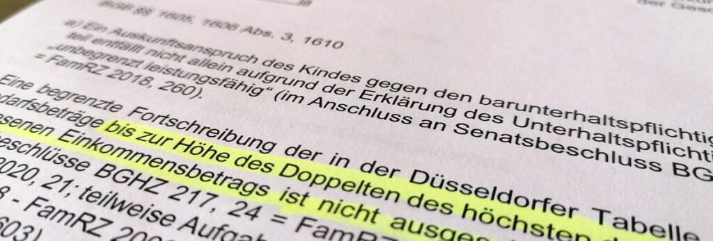Utreil vom Bundesgerichtshof zur Fortschreibung der Düsseldorfer Tabelle